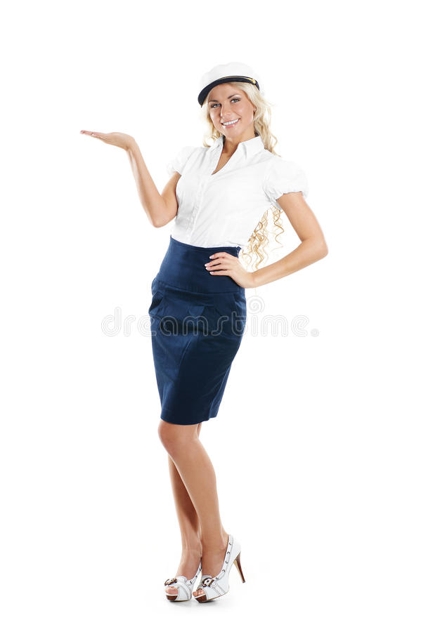 Free Image Of A Sailor Girl Showing The Right Direction Stock Photography - 14952952