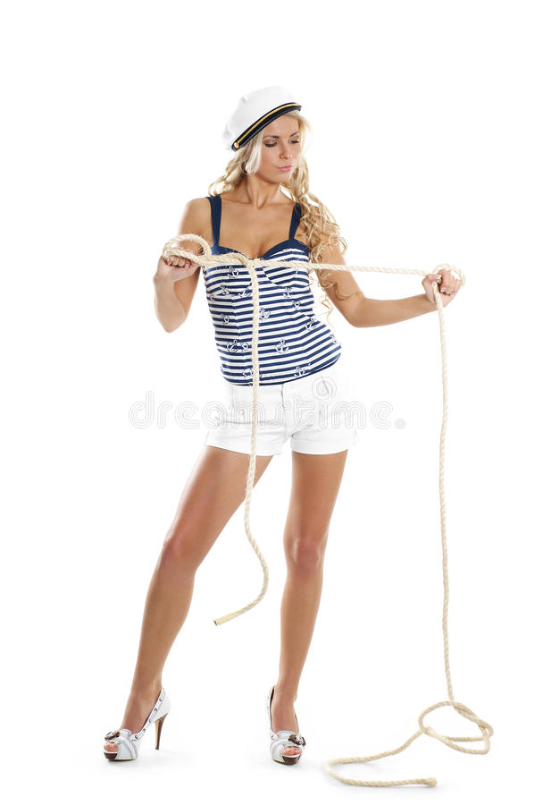 Free Image Of A Sailor Girl Trying To Untangle A Rope Stock Photography - 14952982