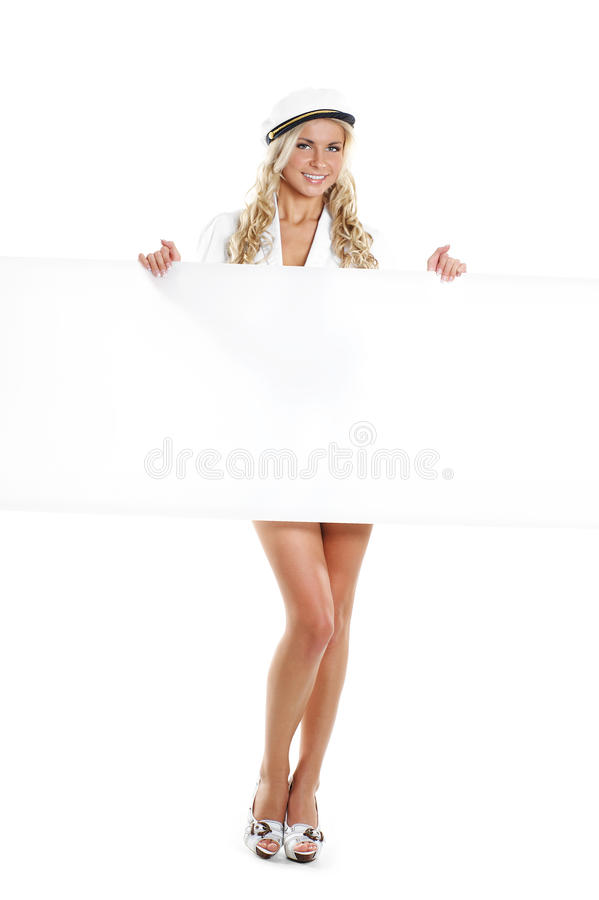 Free Image Of A Young Sailor Girl Holding A Poster Royalty Free Stock Photography - 14952957