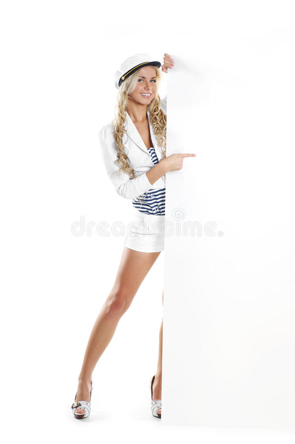 Free Image Of A Young Sailor Girl Holding A Poster Stock Photography - 14952962