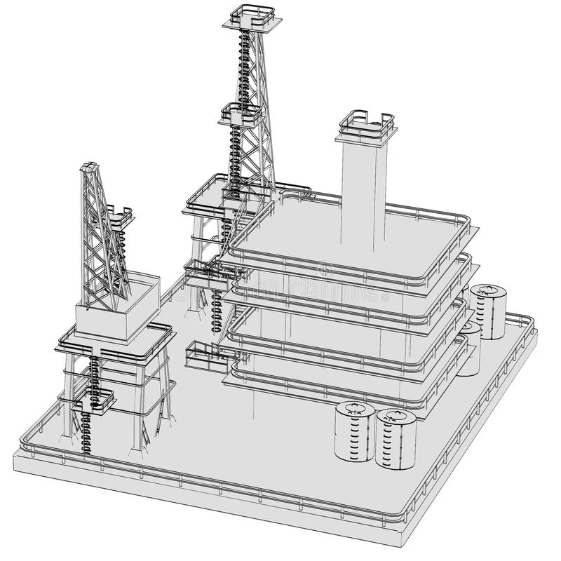 Image of oil rig. Cartoon image of oil rig stock illustration
