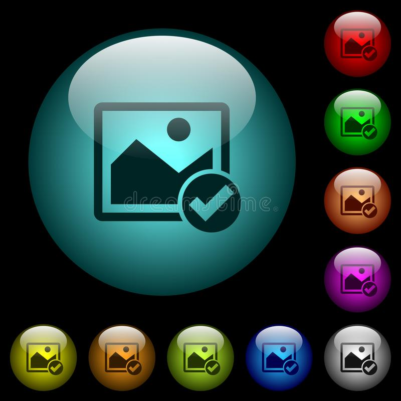 Image ok icons in color illuminated glass buttons. Image ok icons in color illuminated spherical glass buttons on black background. Can be used to black or dark vector illustration