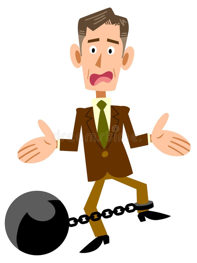 An old Businessman and fetters. The image of an old Businessman is had fetters ,and has troubles royalty free illustration
