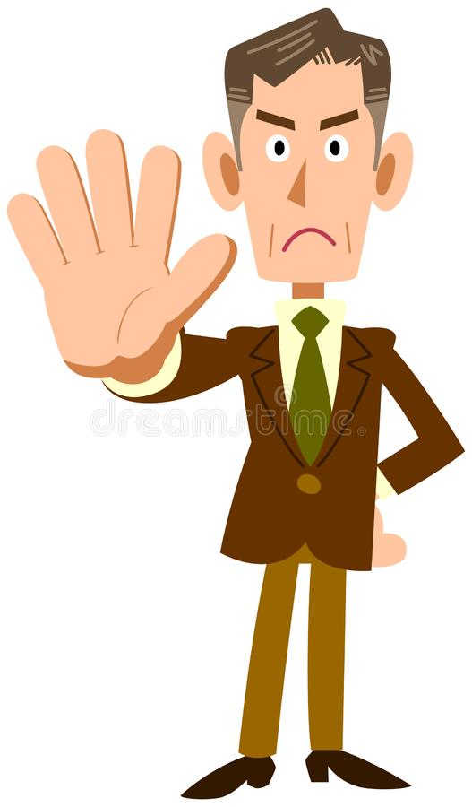 An old businessman stopping. The image of An old businessman is stopping something, or he is showing NO vector illustration