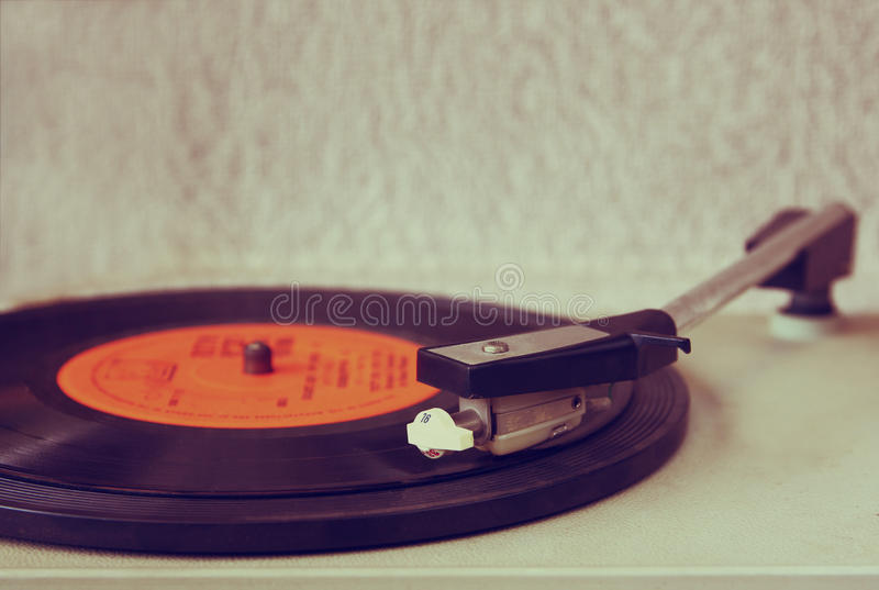 Image of old record player, image is retro filtered . selective focus.  royalty free stock images