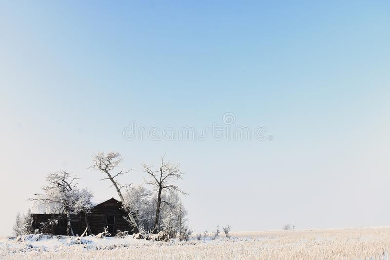 Run Down Farm House In Winter. stock images