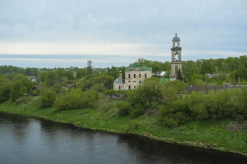Old Russian city of Staritsa on the banks of the Volga. Image of the old Russian city of Staritsa on the banks of the Volga royalty free stock image