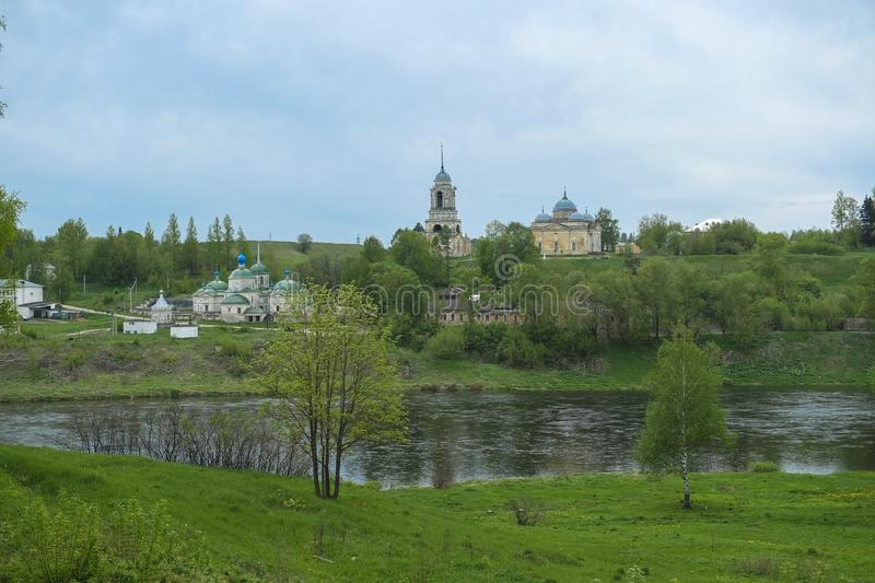 Old Russian city of Staritsa on the banks of the Volga. Image of the old Russian city of Staritsa on the banks of the Volga stock photography