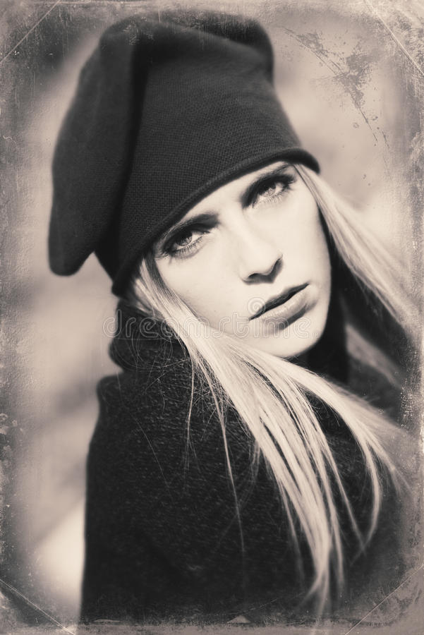Image with old style portrait of blond woman stock image
