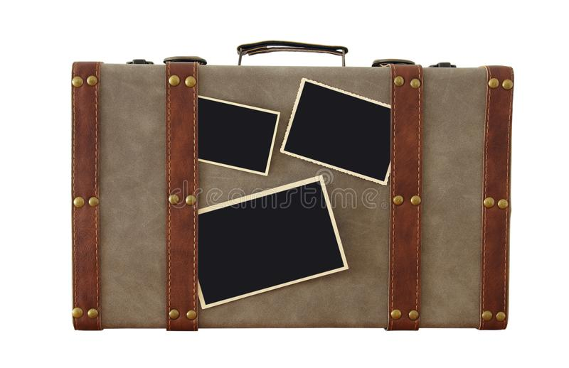 Image of old vintage luggage with blank photos for photography montage mockup isolated on white. stock photo