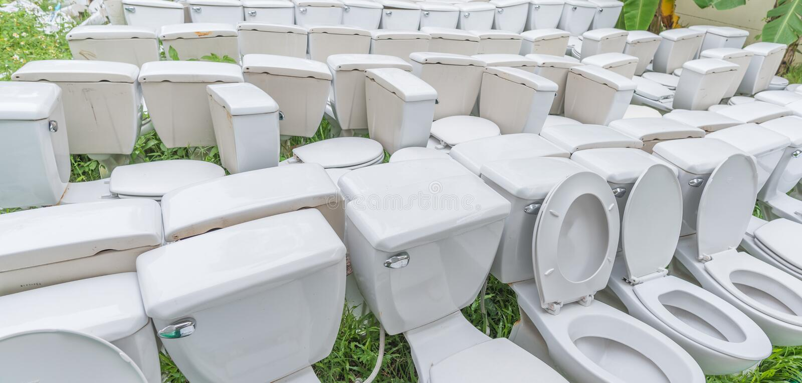 waste flush toilet outdoor . royalty free stock photography