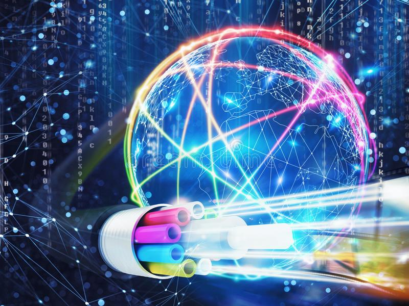 Image of an optical fiber with lights effects. 3D Rendering. Concept of global fast internet infrastructure around the world. 3D Rendering royalty free illustration