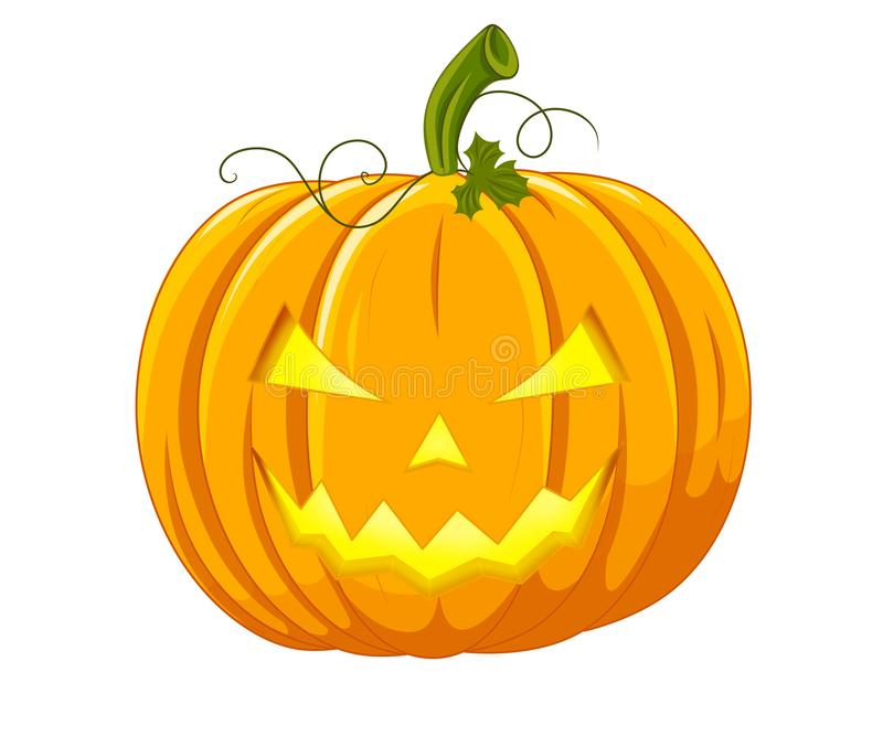 An image of an orange pumpkin for Halloween with a face stock illustration
