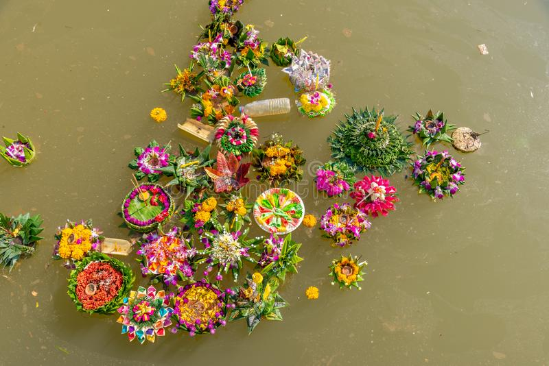 Organic waste in ping river from Loi Krathong festival royalty free stock photos
