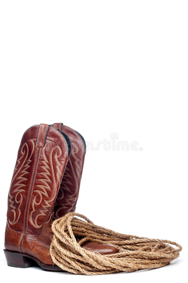 Image of a pair of brown cowboy boots stock photography