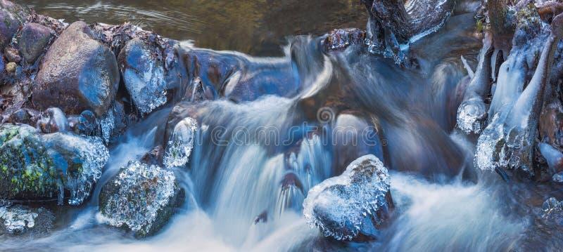 Image panoramique d'écoulement glacial de rivière à l'hiver photo libre de droits