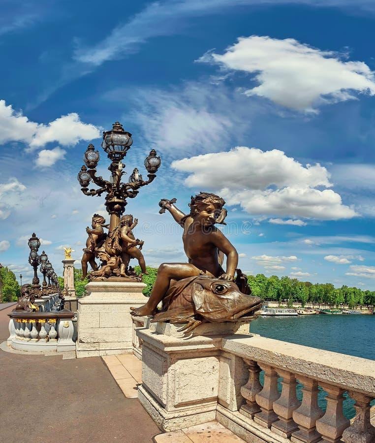 Image panoramique de pont Pont Alexandre III à Paris images libres de droits