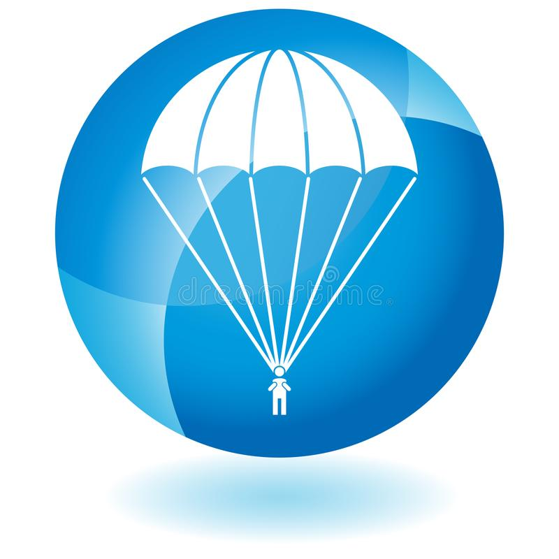 Parachute Paratrooper Button. An image of a Parachute Paratrooper isolated on white vector illustration