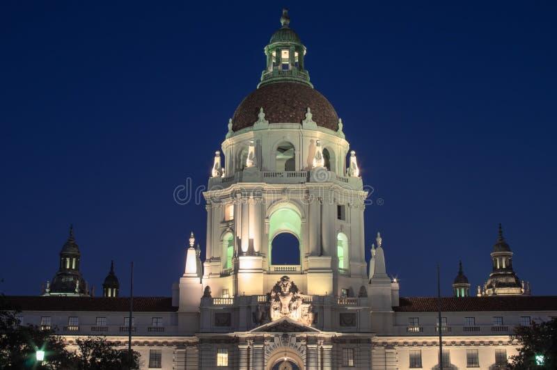Illuminated Pasadena City Hall Dome stock images