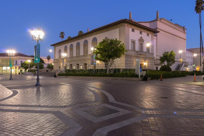 Illuminated Pasadena Civic Auditorium royalty free stock photo