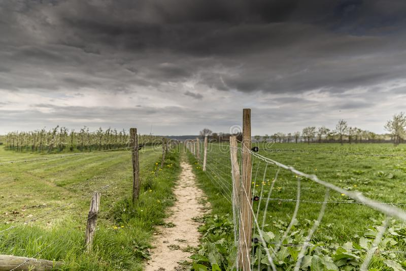 Image of a path between two wire fences with wooden poles in the countryside. Gray sky indicating that a storm is looming in South Limburg in the Netherlands stock images