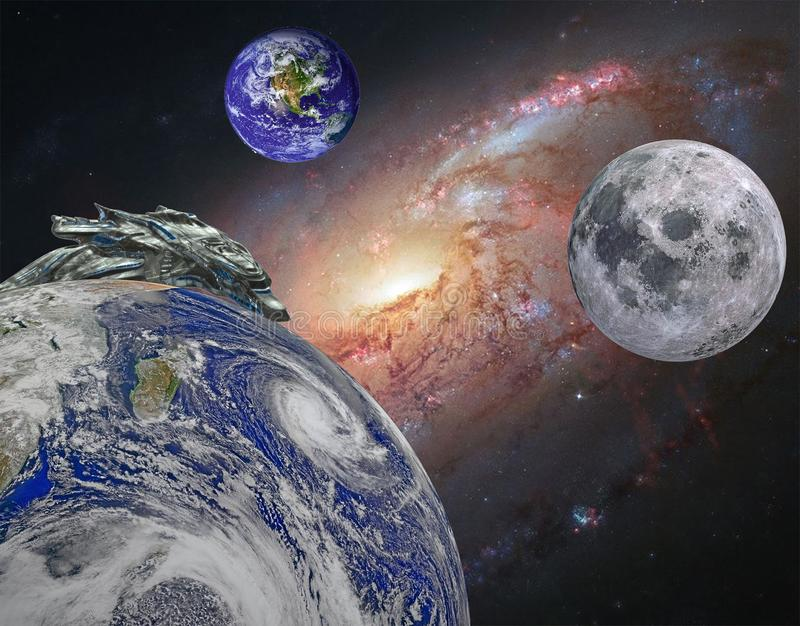 Image of 3 planets in deep space royalty free stock images