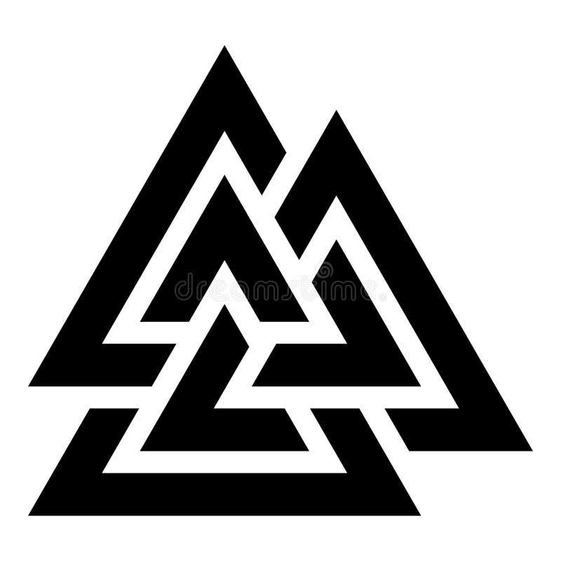 Image plate de style d'illustration de vecteur de couleur de noir d'icône de symbole de Valknut illustration stock