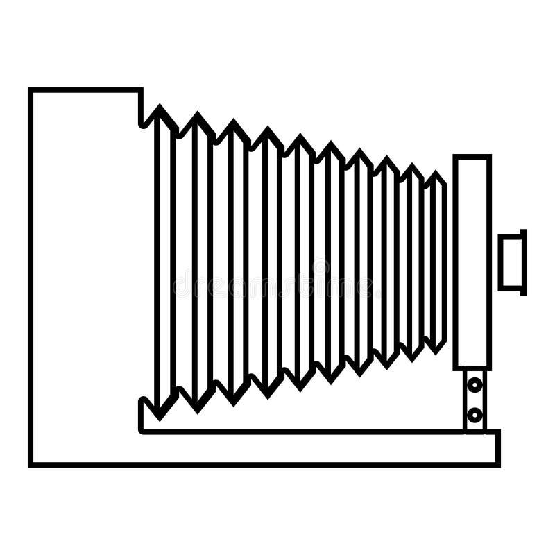 Image plate de style de rétro de caméra de cru de photo de caméra de vue de côté d'icône de noir de couleur d'ensemble illustrati illustration de vecteur