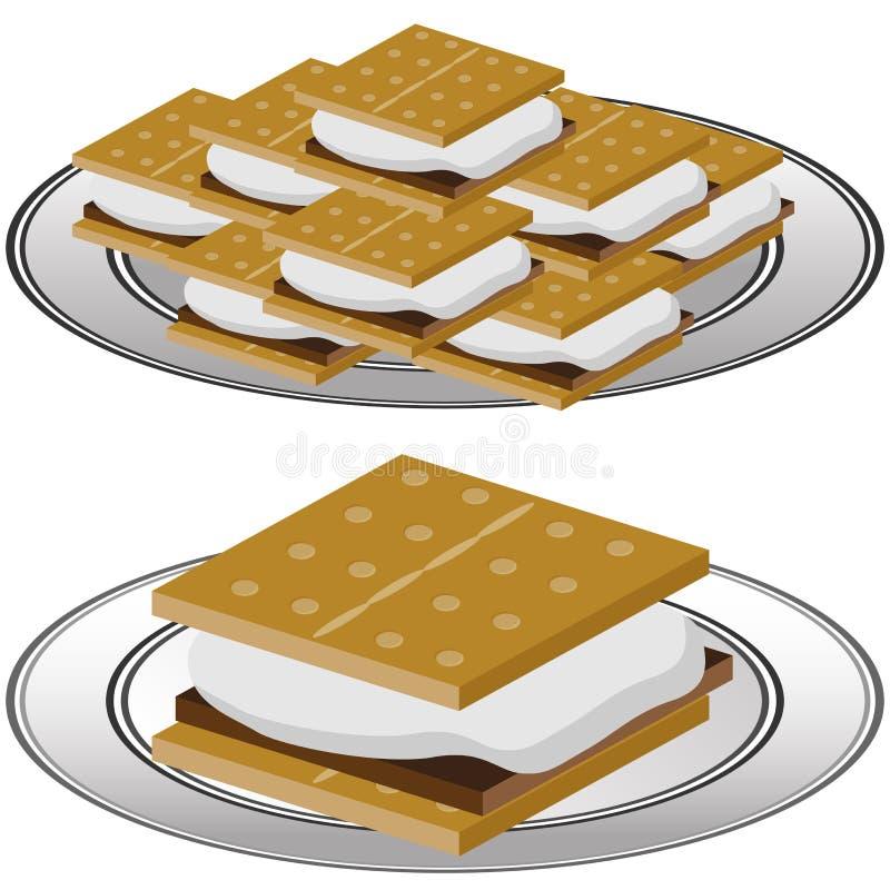 Plate of Graham Cracker Smores stock illustration
