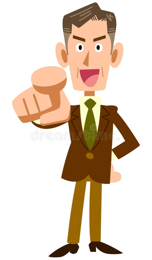 Pointing Old businessman. The image of a Pointing Old businessman, and he is smiling royalty free illustration