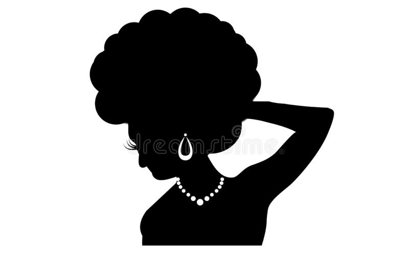 Image of portrait of the young African woman on white background. Image portrait young african woman white background silhouette lady female girl retro dark logo royalty free illustration