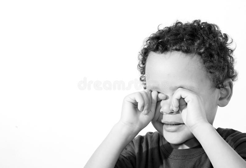 Poverty boy crying royalty free stock photography