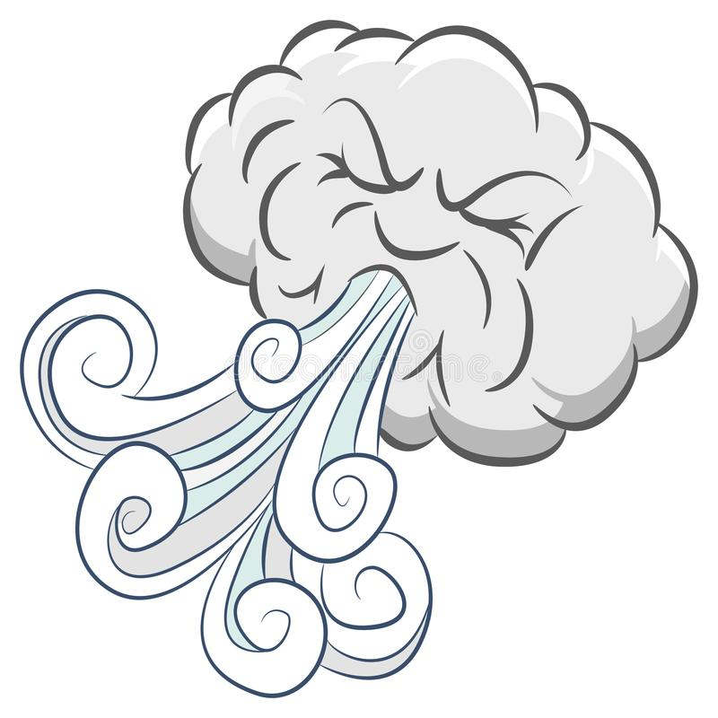 Powerful Angry Cloud Blowing Wind. An image of a Powerful Angry Cloud Blowing Wind isolated on white stock illustration
