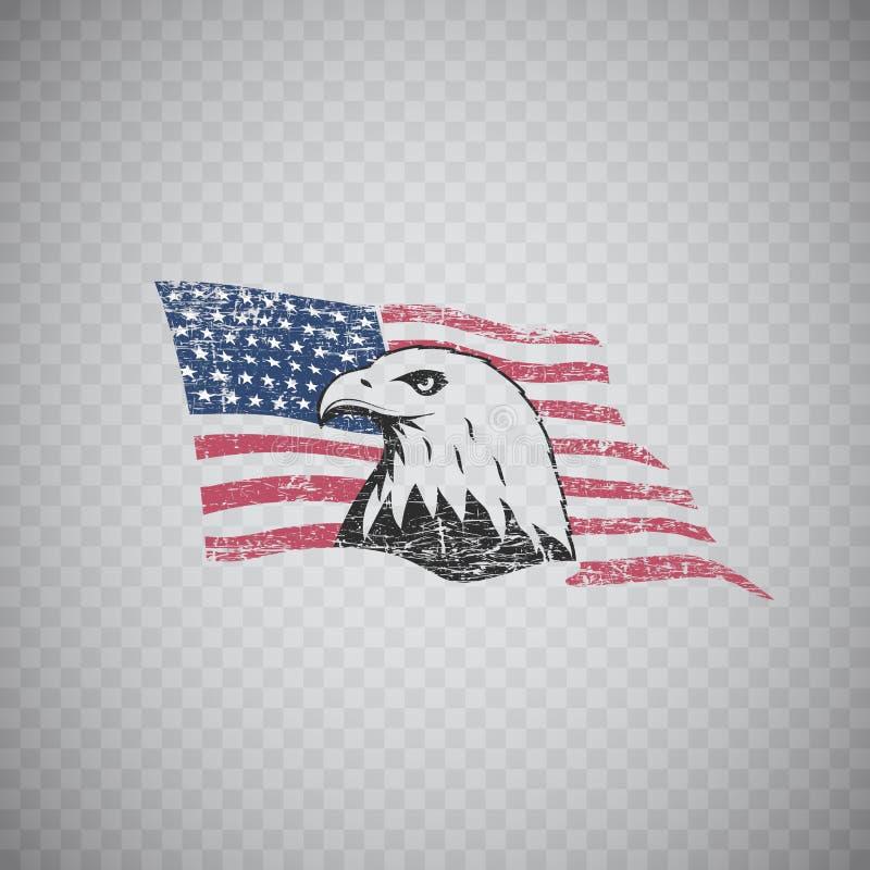 Bald eagle symbol of North America on grunge background with USA vector illustration