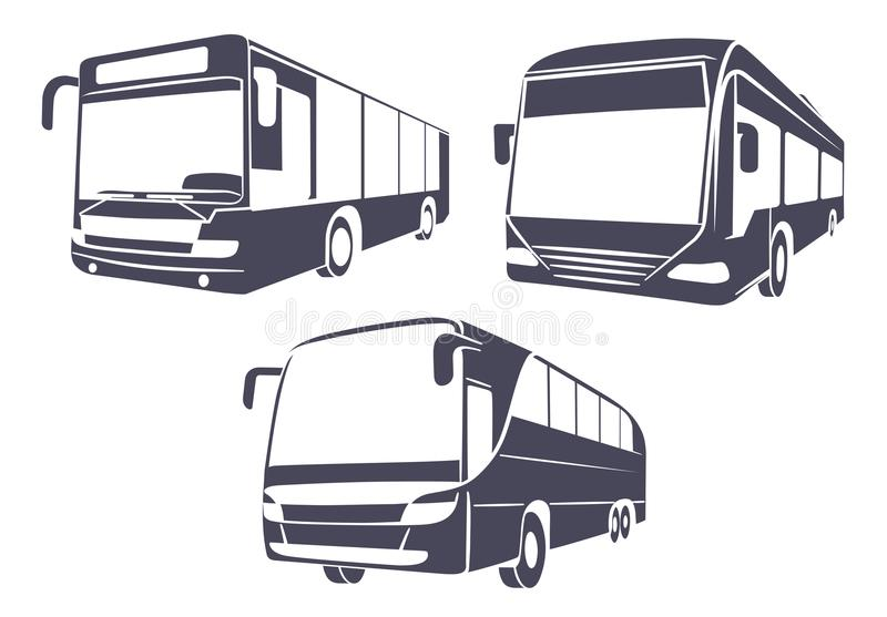 City bus the isolated image on a white background. On the image presented City bus the isolated image on a white background stock illustration