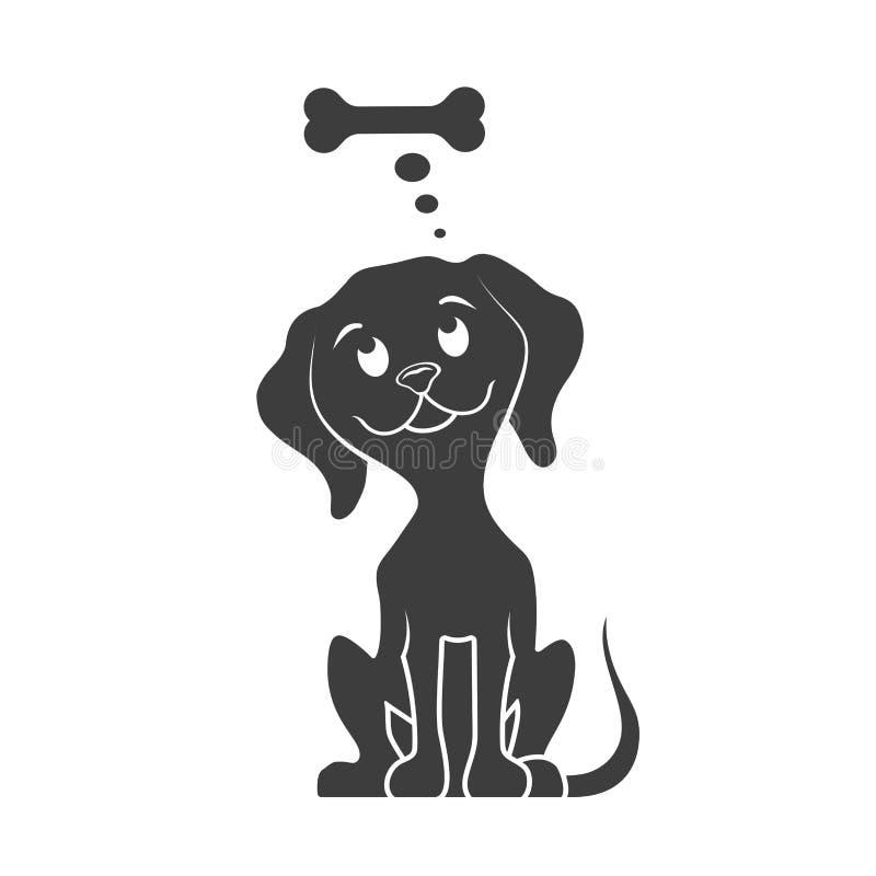 Dog dreams of a bone. On the image presented Dog dreams of a bone royalty free illustration