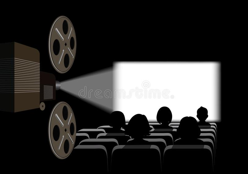 Film projector, film screening in the cinema. On the image presented Film projector, film screening in the cinema royalty free illustration