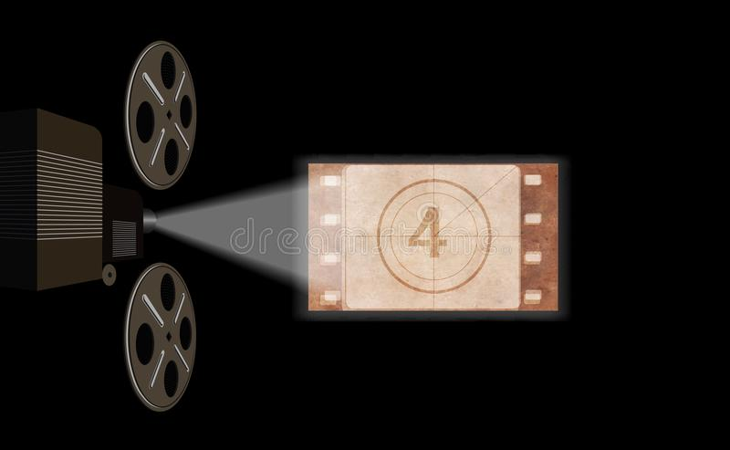 Film projector, film screening in the cinema. On the image presented Film projector, film screening in the cinema vector illustration