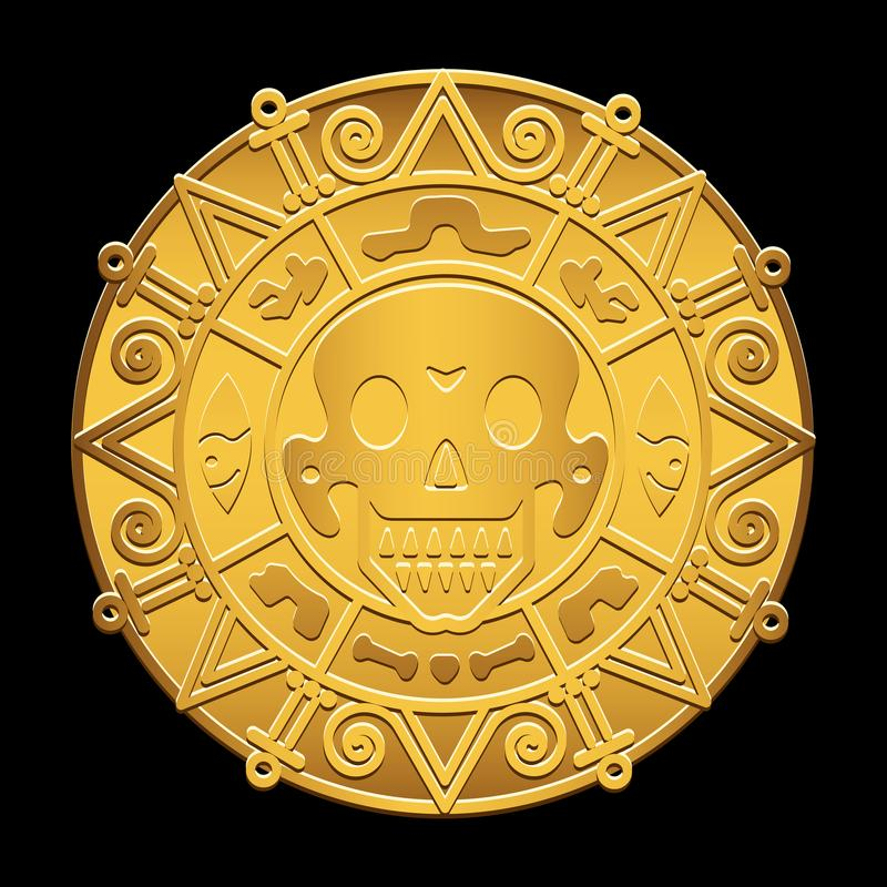 Gold medallion of pirates of the Caribbean Sea. On the image presented Gold medallion of pirates of the Caribbean Sea stock illustration