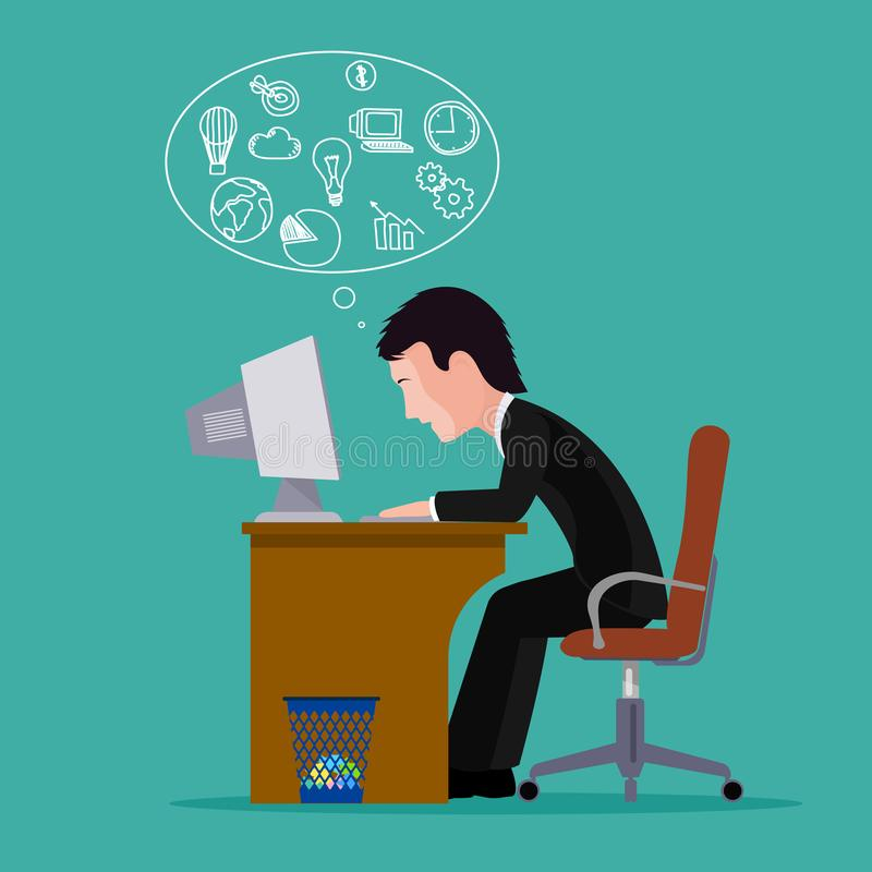 Man in search of ideas.Concept of business ideas. The silhouette of a man behind a computer. stock illustration