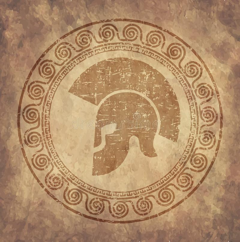 Spartan helmet an icon on old paper in style grunge, is issued in antique Greek style. vector illustration