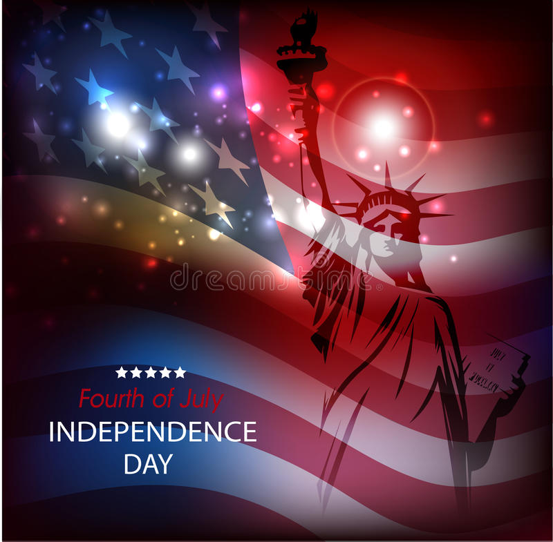 The Statue of Liberty against the background of national flag of the USA a bright abstract background with fireworks. stock illustration