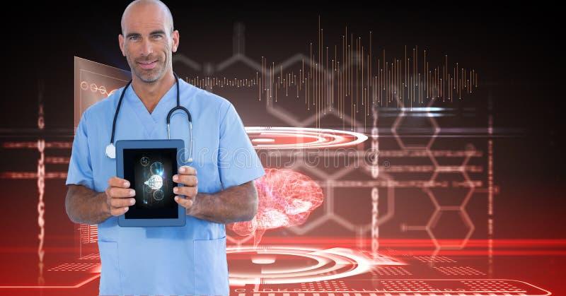 Image produite par Digital du docteur masculin montrant le comprimé numérique contre des graphiques de technologie photographie stock