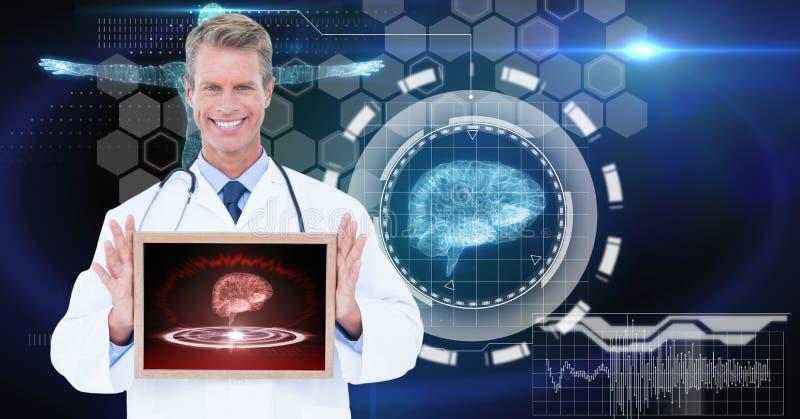 Image produite par Digital du docteur masculin montrant le comprimé numérique contre des graphiques de technologie images stock