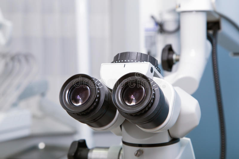 Professional dental endodontic binocular microscope stock image