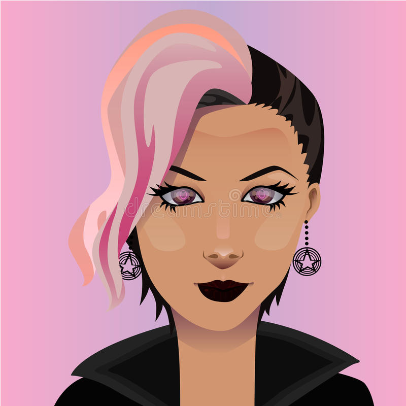 Punk rocker. Image of a punk rocker, little use of gradients and tranparency stock illustration