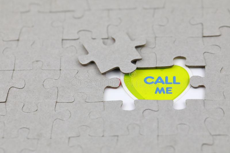 Image of Puzzle piece with call me. Business, assemble. Image of Puzzle piece with call me, Last piece of jigsaw puzzle , Vector transparent puzzle on white stock photography