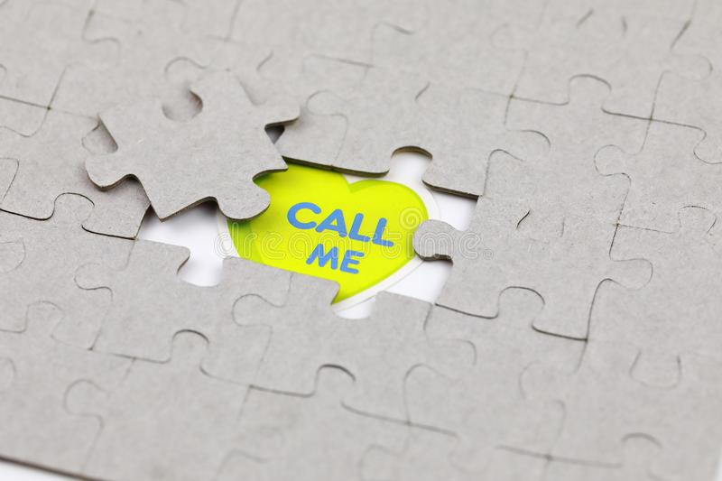 Image of Puzzle piece with call me. Business, assemble. Image of Puzzle piece with call me, Last piece of jigsaw puzzle , Vector transparent puzzle on white stock images