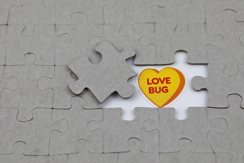 Image of Puzzle piece with love bug . Business, assemble. Image of Puzzle piece with love bug , Last piece of jigsaw puzzle , Vector transparent puzzle on white stock photo