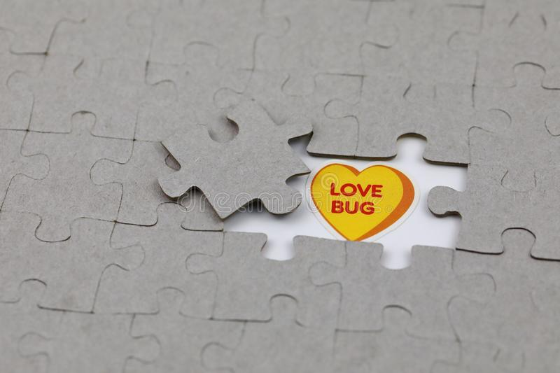 Image of Puzzle piece with love bug . Business, assemble. Image of Puzzle piece with love bug , Last piece of jigsaw puzzle , Vector transparent puzzle on white stock images